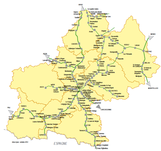 """CARTE 5 : Halte ferroviaires voyageurs Source : Contrat de plan État-Région, """"Bâtir la France de demain, Midi-Pyrénées, 2015-2020"""", 20 juillet 2015"""